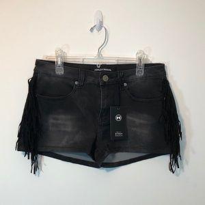 Pants - Black Fringed Mid Waist Jean Shorts